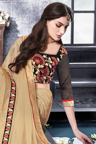 Designer Saree:atisundar enticing Designer Party Wear Saree With Lace in Brown  - 13270