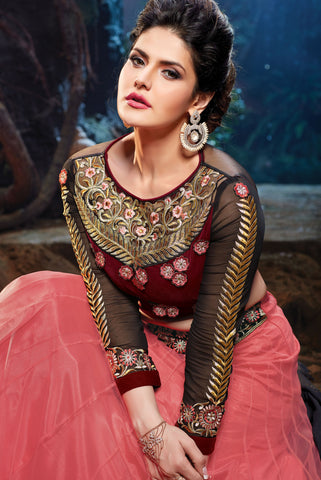 The Zarine Khan Collection:atisundar marvelous Velvet  embroidered Party Wear Lehenga in Peach - 9558 - atisundar - 2