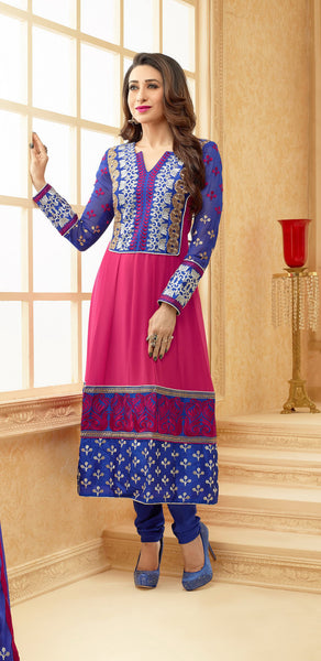 The Karishma Kapoor Collection:Beautiful Designer Bollywood Anarkali in Pink and Blue  - 4166 - atisundar - 1 - click to zoom
