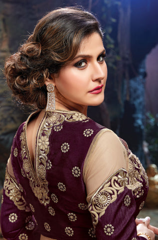 The Zarine Khan Collection:atisundar gorgeous Bhagalpuri Silk  embroidered Party Wear Lehenga in Purple - 9559 - atisundar - 3