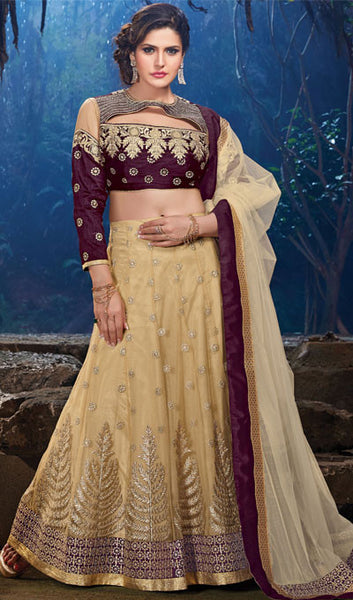 The Zarine Khan Collection:atisundar gorgeous Bhagalpuri Silk  embroidered Party Wear Lehenga in Purple - 9559 - atisundar - 1 - click to zoom