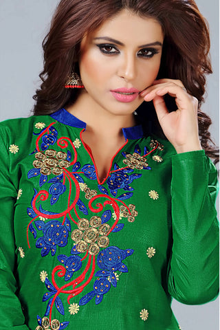 Designer Straight Cut:atisundar Awesome Green Embroidered Cotton Suits - 13094