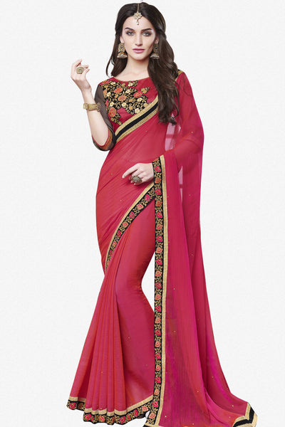 fb966f797af05f Designer Saree:atisundar lovely Designer Party Wear Saree With Lace in Pink  - 13272 -
