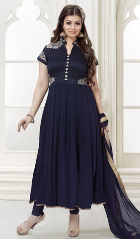 The Ayesha Takia Collection:atisundar stunning Blue Designer Party Wear Straight Cut Suits In Faux Georgette - 9547 - atisundar - 1 - click to zoom