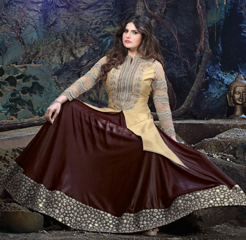 The Zarine Khan Collection:atisundar bewitching  Silk embroidered Party Wear Lehenga in Beige - 9560 - atisundar - 3