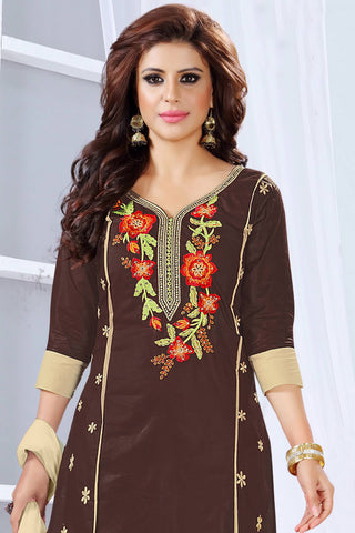 Designer Straight Cut:atisundar angelic Brown Embroidered Cotton Suits - 13096