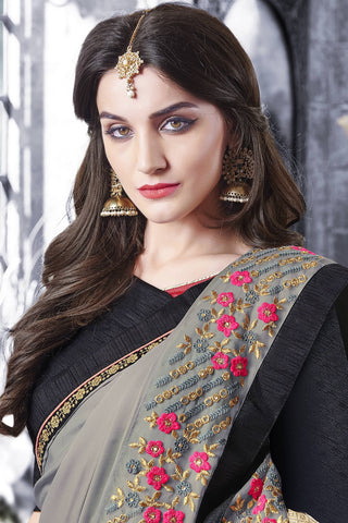 Designer Saree:atisundar fascinating Designer Party Wear Saree With Lace in Grey  - 13274