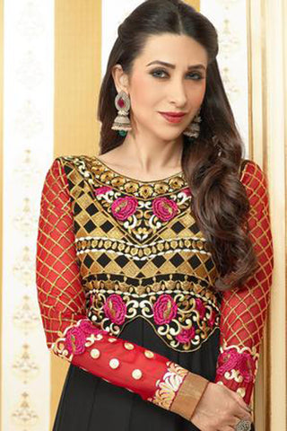 The Karishma Kapoor Collection:Resplendent Designer Bollywood Semi stitched Anarkali in Black  - 4170