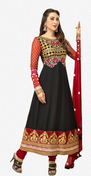 The Karishma Kapoor Collection:Resplendent Designer Bollywood Semi stitched Anarkali in Black  - 4170 - atisundar - 1 - click to zoom
