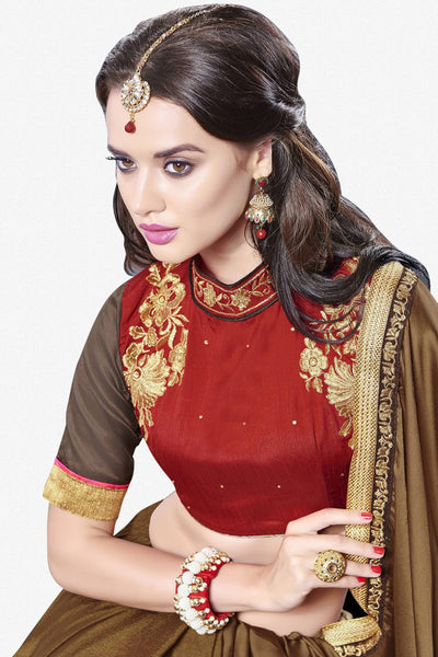 Designer Saree:atisundar elegant Designer Party Wear Saree With Lace in Brown  - 13276 - click to zoom