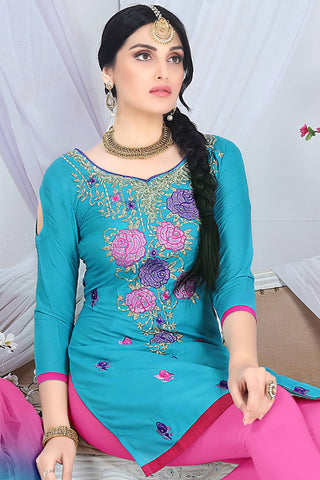 Designer Straight Cut:atisundar dazzling Blue Embroidered Cotton Suits - 13098