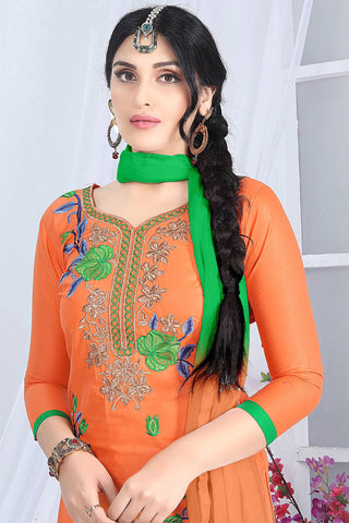 Designer Straight Cut:atisundar superb Orange Embroidered Cotton Suits - 13099