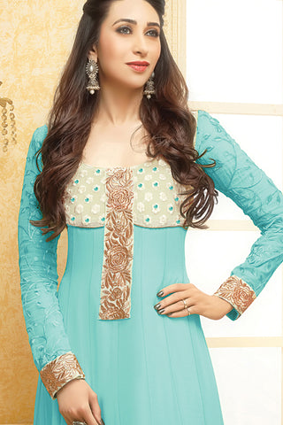 Designer Straight Cut:atisundar admirable Light Sea Green Designer Embroidered Straight Cut - 10665 - atisundar - 2