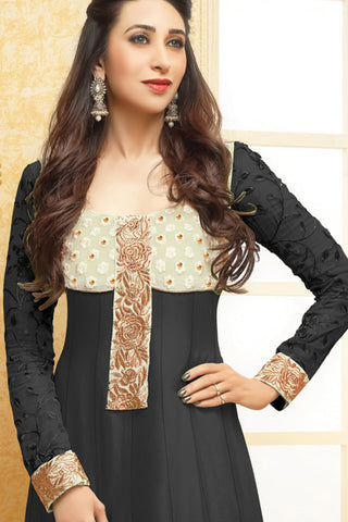 Designer Straight Cut:atisundar refined Black Designer Embroidered Straight Cut - 10664 - atisundar - 2