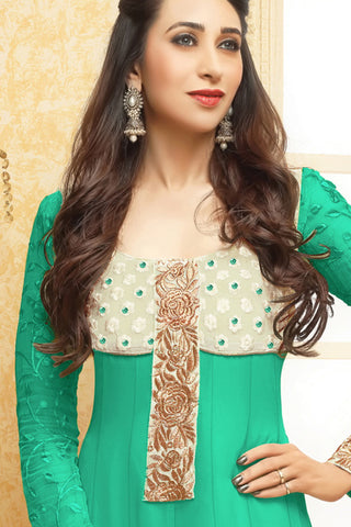 Designer Straight Cut:atisundar ravishing Sea Green Designer Embroidered Straight Cut - 10663 - atisundar - 2