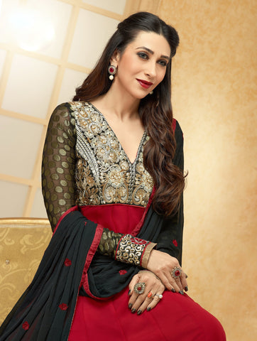 The Karishma Kapoor Collection: Stunning Semi-stitched Designer Bollywood Anarkali - 4176 - atisundar - 2