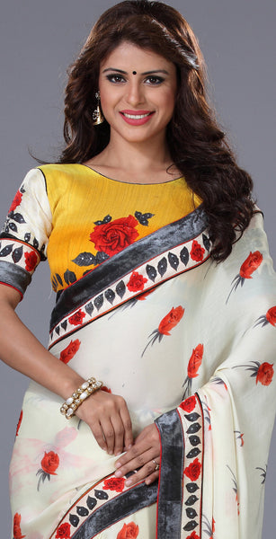 Designer Printed Saree!:atisundar ravishing Designer Printed Saree in White  - 7707 - atisundar - 3 - click to zoom
