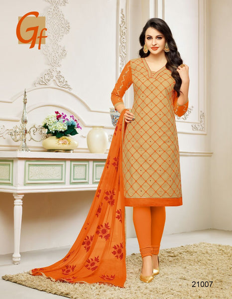 Designer Embroidered Suit With Embroidered Dupatta:atisundar elegant Beige Designer Embroidered Partywear Suits in Straight Cut - 14502 - click to zoom