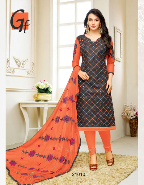 Designer Embroidered Suit With Embroidered Dupatta:atisundar resplendent Black Designer Embroidered Partywear Suits in Straight Cut - 14505 - click to zoom