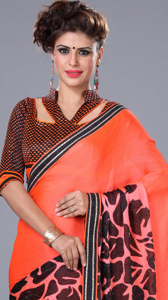 Designer Printed Saree!:atisundar resplendent Designer Printed Saree in Orange And Black  - 7718 - atisundar - 3 - click to zoom