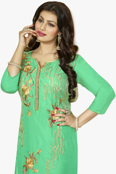 The Ayesha Takia Collection:atisundar elegant Sky Green Designer Party Wear Embroidered Straight Cut Featuring Ayesha Takia - 12173 - atisundar - 2 - click to zoom