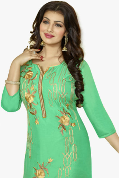 The Ayesha Takia Collection:atisundar elegant Sky Green Designer Party Wear Embroidered Straight Cut Featuring Ayesha Takia - 12173 - atisundar - 3 - click to zoom