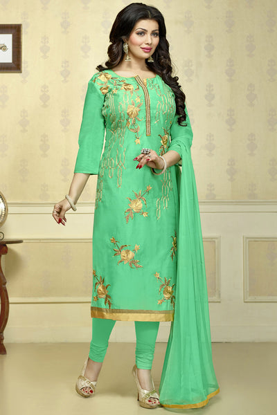 The Ayesha Takia Collection:atisundar elegant Sky Green Designer Party Wear Embroidered Straight Cut Featuring Ayesha Takia - 12173 - atisundar - 4 - click to zoom