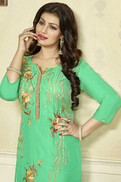 The Ayesha Takia Collection:atisundar elegant Sky Green Designer Party Wear Embroidered Straight Cut Featuring Ayesha Takia - 12173 - atisundar - 5 - click to zoom