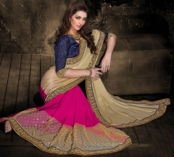 Designer Embroiderd Saree:atisundar comely Designer Embroidered Party Wear Sarees in Pink  - 9024 - atisundar - 3 - click to zoom