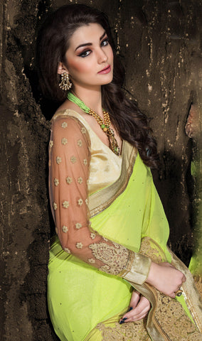 Designer Embroiderd Saree:atisundar excellent Designer Embroidered Party Wear Sarees in Light Green  - 9025 - atisundar - 4