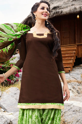 Designer Straight Cut:atisundar elegant Brown Designer Party Wear Straight Cut - 12964
