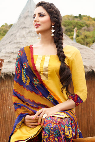Designer Straight Cut:atisundar pretty Yellow Designer Party Wear Straight Cut - 12974