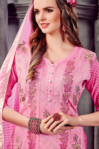 Designer Straight Cut:atisundar splendid Pink Designer Party Wear Straight Cut - 12914