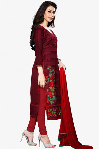Designer Straight Cut:atisundar bewitching Maroon Designer Party Wear Straight Cut - 12931
