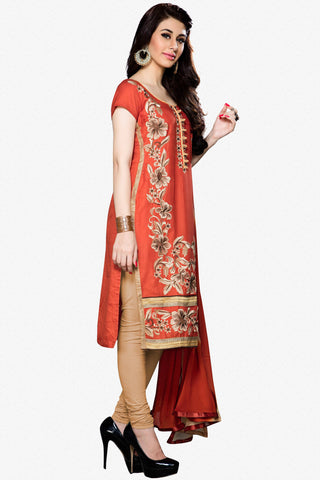 Designer Straight Cut:atisundar delightful Orange Designer Party Wear Straight Cut - 12933