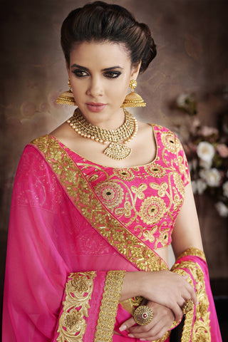 Designer Sarees:atisundar Beautiful Designer Party Wear Saree with Border in Pink  - 11977 - atisundar - 4