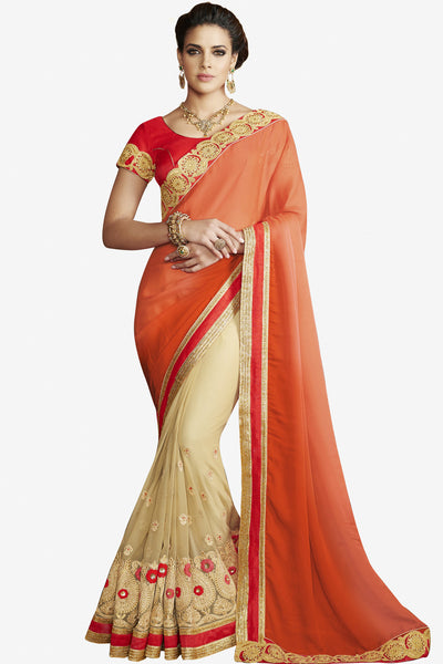 Designer Sarees:atisundar delicate Designer Party Wear Saree with Border in Orange And Cream  - 11982 - atisundar - 1 - click to zoom