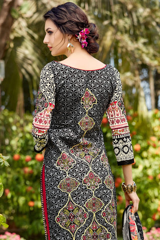 Designer Straight Cut:atisundar splendid Black Designer Party Wear Straight Cut - 12941