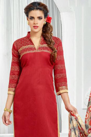 Designer Straight Cut:atisundar fair Red Designer Party Wear Straight Cut - 12859