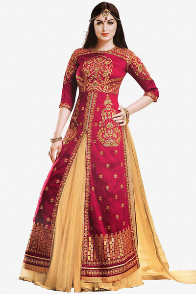 Designer Lehenga:atisundar comely Embroidered Banglori Silk Designer Party Wear Lehenga in Red - 12893 - click to zoom