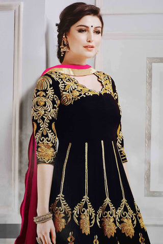 Designer Anarkali:atisundar Smart Black Designer Party Wear Anarkali - 12897