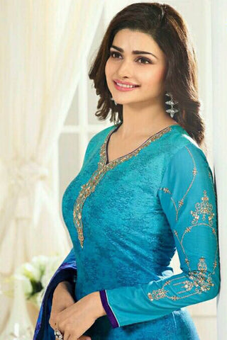 Designer Straight Cut:atisundar fair Blue Designer Party Wear Straight Cut Featuring Prachi Desai - 13586
