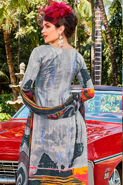 Designer Embroidered Straight Cut Suit With Print:atisundar cute Grey print with embroidered - 14564 - click to zoom