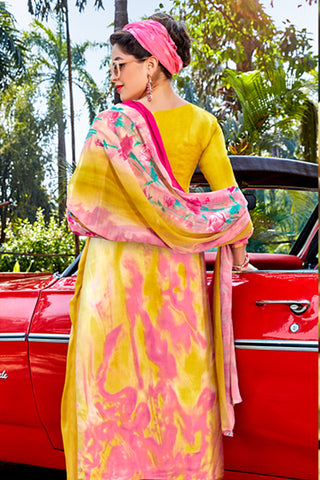 Designer Embroidered Straight Cut Suit With Print:atisundar delightful Yellow print with embroidered - 14566