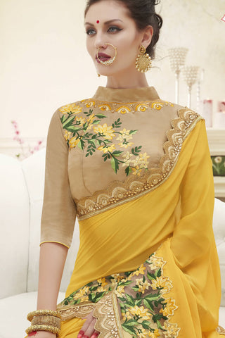 Designer Saree:atisundar beauteous Designer Party Wear Saree in Yellow  - 13356