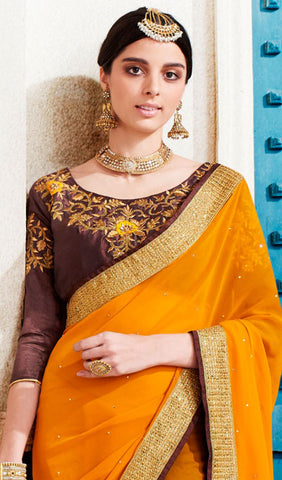Designer Saree:atisundar pretty Designer Embroidered Saree in Mustard   - 10365 - atisundar - 2