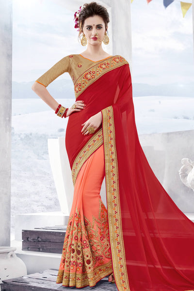 Designer Saree:atisundar charming Designer Party Wear Saree in Red And Peach  - 13360 - click to zoom