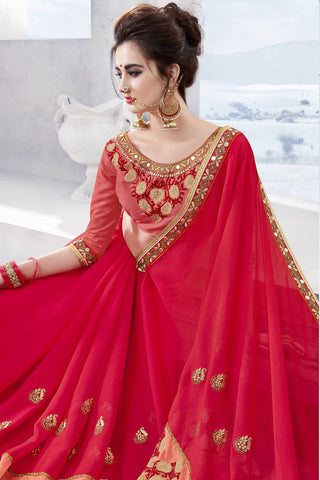 Designer Saree:atisundar pretty Designer Party Wear Saree in Red  - 13361
