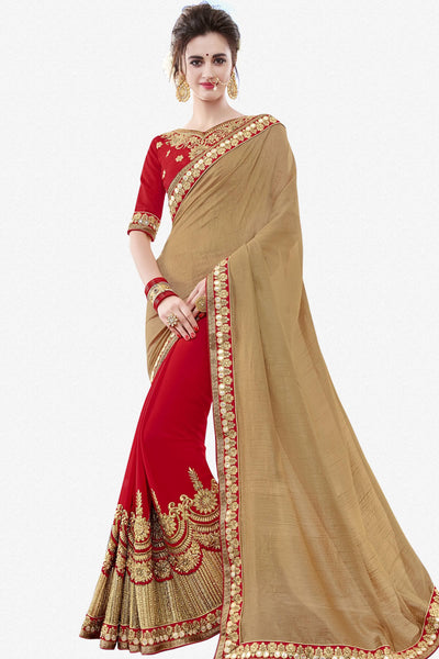 Designer Saree:atisundar classy Designer Party Wear Saree in Brown And Red  - 13367 - click to zoom