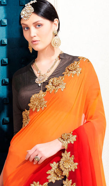 Designer Saree:atisundar bewitching Designer Embroidered Saree in Orange  - 10367 - atisundar - 2 - click to zoom
